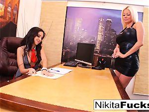 Nikita's lesbo office fuck