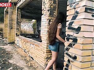 LETSDOEIT - diminutive French teen banged rock hard In Outdoors