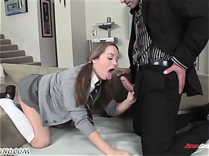 nasty schoolgirl in miniskirt Nichole Heiress gets fcuked by an adult masculine