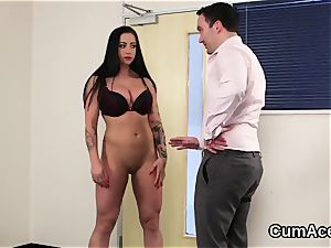 Wicked sweetie gets jizm stream on her face gulping all the fluid