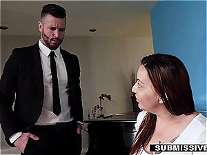 cheating hubby compelled to pummel his secretary in front of his wife