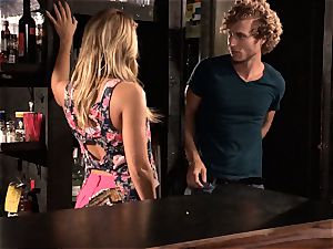 Barmaid Carter Cruise penetrates her manager at work