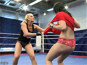 Aagell Summers and Kathia Nobili steaming fight bare