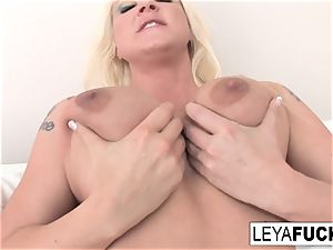 Leya Falcon chats sloppy then shows off her crevices