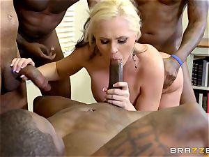 Alena Croft plows her black schoolgirls