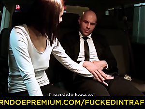 screwed IN TRAFFIC - taxi car fuck-fest with Czech dark-haired