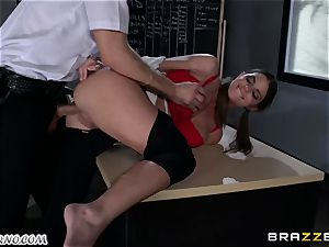 Policeman penalizes super-naughty college girl on the table