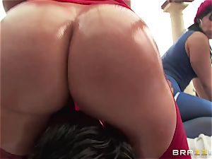 rectal hookup with three kinky ginormous ass sluts Krissy Lynn, Nikki Delano and Rose Monroe