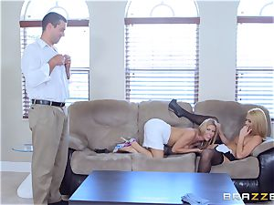 Alexis Fawx and Abby Cross screwed by strung up spanish penis