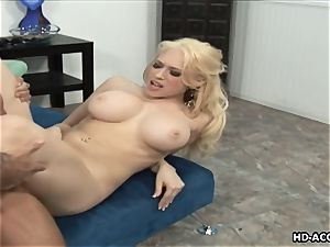 Smoking hot platinum-blonde with ginormous funbags gets fucked firm