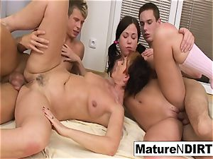 kinky mature honey gets DP'd in a 4 way