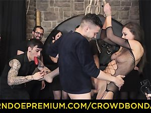 CROWD bondage - extreme bdsm plumb wheel with Tina Kay