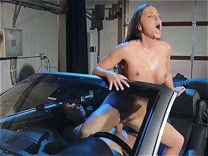 Abigail Mac salivating on a meaty beef whistle
