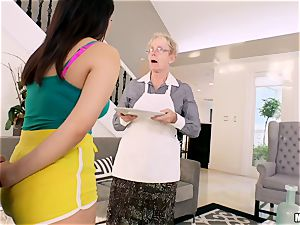 Valentina Nappi hammered in her minge with her grandmother sleeping in the apartment