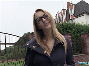 Public Agent Belle Claire has the hottest bra-stuffers