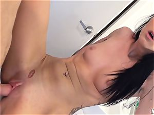 insane black-haired Sabrina Banks fucked in her honeypot pie