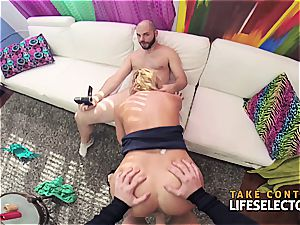 big-titted brat makes a duo of pricks perceive comfy in her beaver