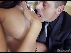 huge-titted brown-haired babe gets her rump and vulva penetrated rock-hard