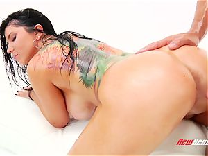 ultra-kinky passionate mexican pornography starlet Romi Rain gets her enormous greased jugs titfucked
