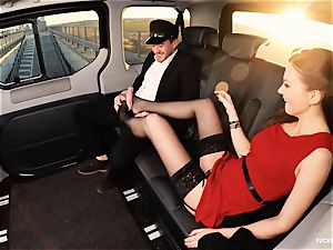 plumbed IN TRAFFIC - brit Tina Kay smashed in the car