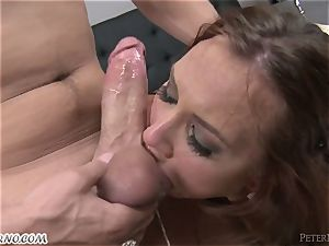 ginger-haired slut loves to inhale and knows how to do it