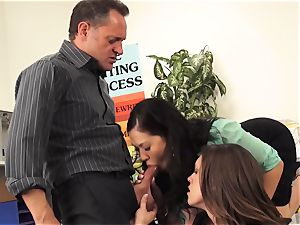 lecturers London Keyes and Jade Nile plow a students parent