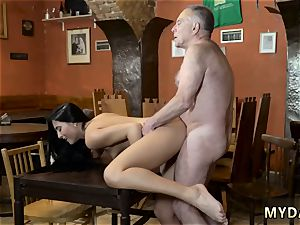 old doc plow youthful spotted his parent and his girlpatron naked on a table in the middle of