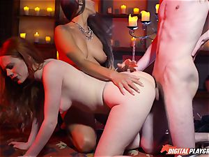 jizz swallowing three-way with marvelous Ella Hughes and mind-blowing babe Mea Melone