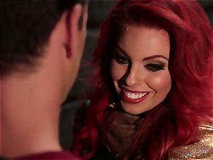 Britney Amber gargles off a horny superhero