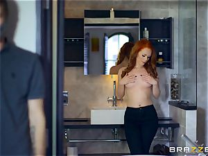 luxurious redhead Ella Hughes screwed by hooded boy