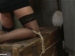 Kathia Nobili spanking a scorching honey in public wc