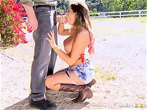 August Ames gets her melons creamed outdoors