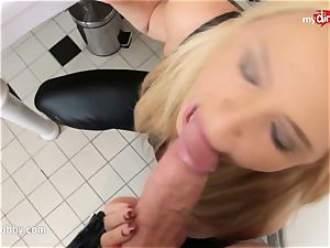 My muddy leisure activity - facial queen takes it in the restroom