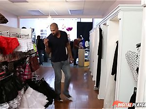 Public hump in the clothes shop with AJ Applegate
