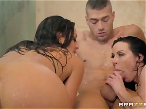 porn fuck-a-thon with fetching female athletes Abigail Mac and Kendra fervor in dame bathroom apartment