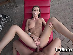 bawdy Tina Kay operates with her fuckbox on a massive trouser snake
